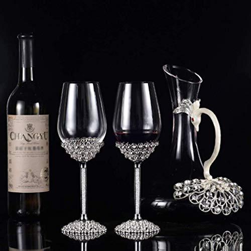YEE Juego de Copa de Vino de Decanter, Vidrio de Vino de Esmalte, patrón de Pavo Real Copa de Cristal cristalino de Cristal de Cristal decantador de Vidrio, Copas de Vino Tinto, b (Color : B)