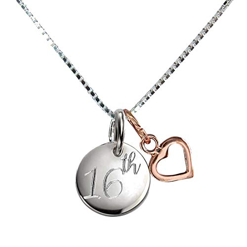 Genuine Sterling Silver 16th Birthday Necklace With Engraved Disc & Rose Gold Heart Pendant Present Gift Box Chain 18 Inch Jewellery