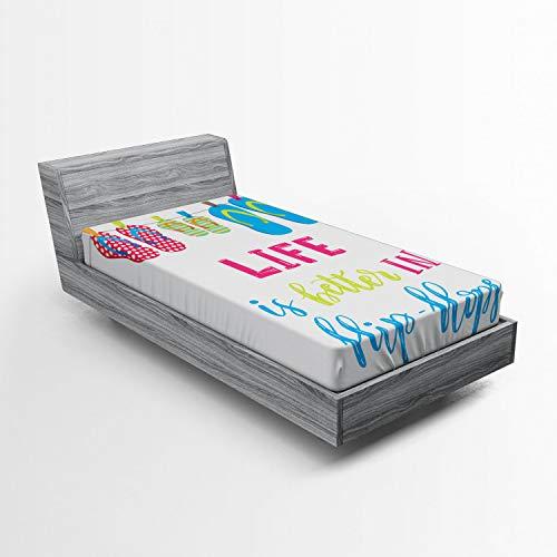 ABAKUHAUS Zomer Hoeslaken, Het leven is Beter in Flip Flops, Zachte Decoratieve Stof Beddengoed, Elastische Band Rondom, 90x 190 cm, Veelkleurig