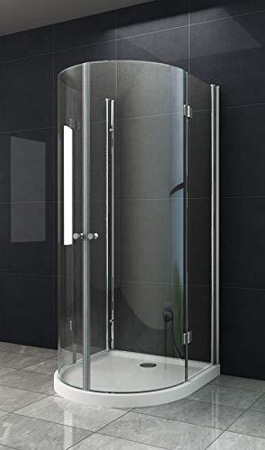 Faltbare U Form Duschkabine Dusche CESAR 90 x 90 x 200cm / 6 mm/mit Duschtasse