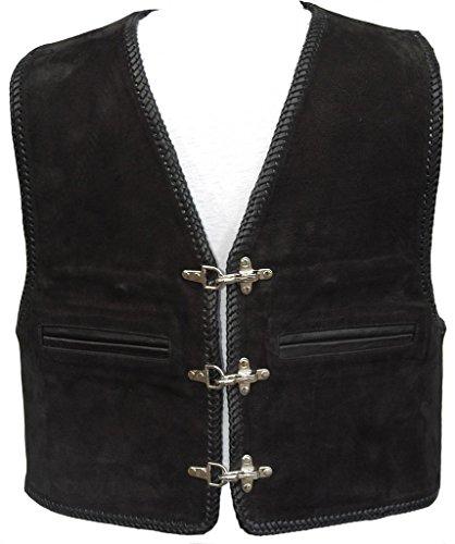 """Bad Company Leatherwear """"Kai"""" Clubweste aus Nubukleder in Schwarz mit Passbeltaschen für Motorradfahrer und Biker, Gr.: 54"""