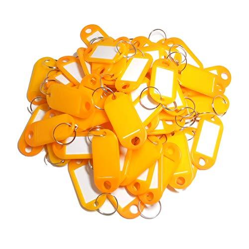 リング付きキータグ、50個プラスチックキータグキーラベルキーフォブとして色付きキータグ荷物ペット名メモリースティックタグ(オレンジ)