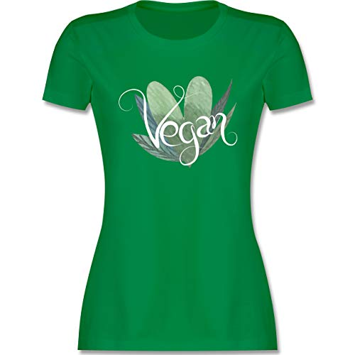 Statement - Vegan Lettering - M - Grün - Shirt Print Damen - L191 - Tailliertes Tshirt für Damen und Frauen T-Shirt