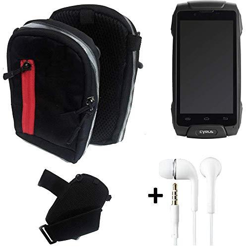 K-S-Trade® Outdoor Gürteltasche Umhängetasche + Kopfhörer Für Cyrus CS 30 Schwarz Handytasche Case Travelbag Schutzhülle Handyhülle