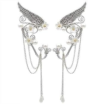Elf Ear Cuffs Handmade Clip on Earrings Pearl Wing Tassel Filigree Elven Earrings for Women Fantasy Fairy Halloween Costume Cosplay Wedding Handcraft