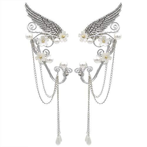 Elf Ear Cuffs, Handmade Clip on Earrings, Pearl Wing Tassel Filigree Elven Earrings for Women, Fantasy Fairy Halloween Costume, Cosplay, Wedding, Handcraft