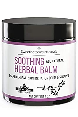 All-Natural Diaper Rash Cream Balm - Prevent & Heal Inflamed Skin and Rash - Treat Cuts, Scrapes & Eczema - Made with Botanical-Rich Therapeutic Skin Butters & Oil - No Additives Diaper Cream 4 oz.
