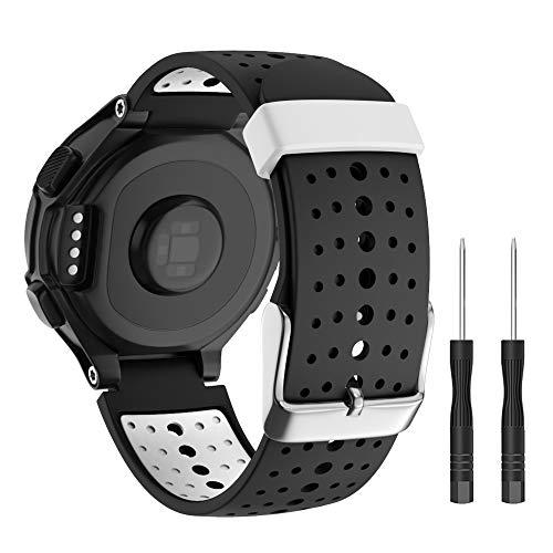 Isabake Armband für Garmin Forerunner 235 735XT 230 220 620 630, Ersatzband aus weichem Silikon für Garmin Beobachten 735xt/235Lite/220/230/235/620/630 (Schwarz)