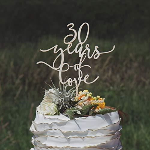 30e verjaardag taart topper, 30 jaar van liefde, 30e bruiloft verjaardag taart topper, aangepaste taart topper, rustieke taart topper
