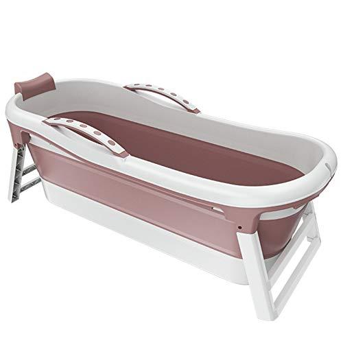Bañera portátil, bañera al Vapor, bañera de baño, bañera Plegable, bañera móvil para Adultos, bañera Plegable Plegable Plegable, Sauna doméstica (133 * 64 * 52 cm),Rosado