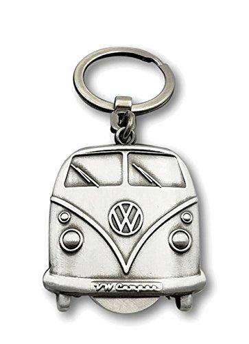 BRISA VW Collection Volkswagen T1 Bus Transporter Sleutelhanger met verwijderbare munt in geschenkdoos - Vintage Zilver