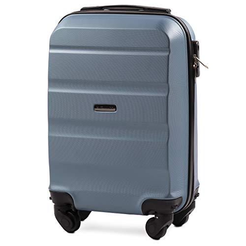 VINCI LUGGAGE Geräumiger Kabinentrolley - Leichter Flugzeugkoffer - Luxuriöser und moderner Koffer mit zweistufigen Teleskopgriff und Kombinationsschloss (Silber Blau, XS 51x33x20)