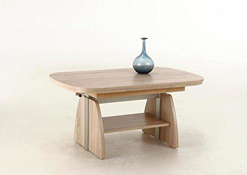 lifestyle4living Couchtisch aus Holz, Eiche-Sonoma, beidseitig ausziehbar und höhenverstellbar | Praktischer Wohnzimmertisch hat zusätzlichen Ablageboden