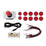 Surebuy CY-822A Juego de Arcade Joystick Single Rocker Set, para máquina de Juego de PC(Red)