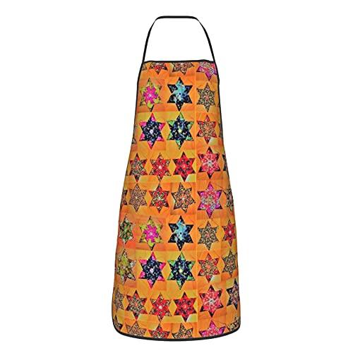 Delantales ORIGAMI STARS PATRÓN LARGE) para hombre y mujer, durable ajustable babero delantales para cocina restaurante