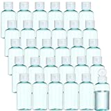 30Pack Clear Refillable Cosmetic Bottles Empty Liquid Hand Sanitizer Bottles Plastic Travel Containers Bottles with Flip Caps 50ML - Oval Design (Blue)