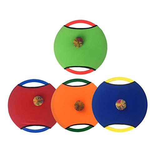 LIOOBO Juego de Juego de Pelota de Paleta de trampolín Juego de Lanzamiento de Disco Volador y Pelota de Captura Juguete de jardín Infantil de jardín de Infantes (Color Aleatorio)