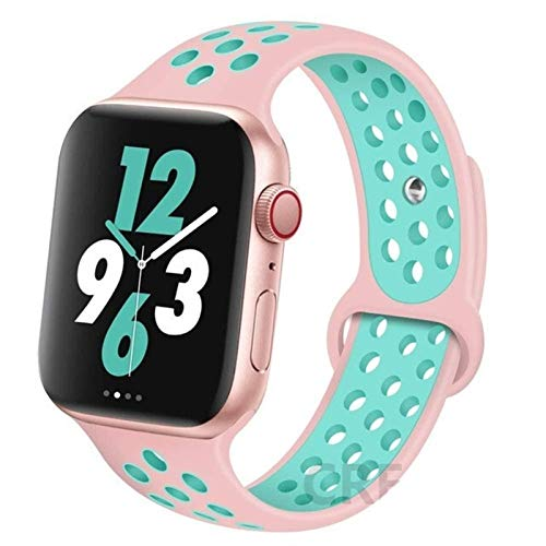CGGA Correa For IWATCH Band 44mm 42mm 38mm 40mm IWATCH Banda Pulsera De Silicona Sport Series Accesorios For De IWatch 6 5 4 3 SE (Band Color : Rose Green 6, Band Width : 42mm 44mm L)