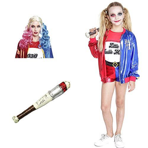 Disfraz Joker's Baby Niña con Bate Peluca Chaqueta Shorts【Tallas Infantiles de 3 a 15 años】[10-12 años] Disfraz Niña Halloween Carnaval Cosplay Villanas Superheroínas Chaqueta Bicolor Mono Dorado