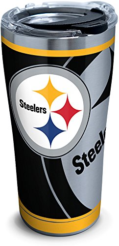 Tervis NFL Pittsburgh Steelers Rush Stainless Steel Tumbler with Lid, 20 oz, Silver