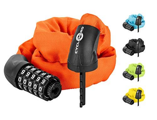 Fahrradschloss Zahlen (Farbe orange) Zahlenschloss Fahrrad mit 100.000 Zahlenkombinationen durch hochwertiges 5er Kombinationsschloss - Kettenschloss mit Textilmante