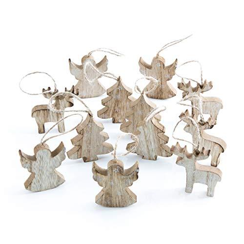 Logbuch-Verlag 12 colgantes de Navidad, árbol, ángel, renos, ciervo, natural, marrón y blanco, 6 cm, colgante de madera con cuerda para colgar