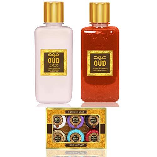 Coffret Duo Gel Douche Oud 300ml et Crèmes Lotion Lait Parfumé Hydratant Oud 300ml + 6 Miniature Savons 20g (Oud et Ambre)
