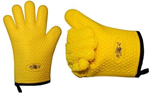 Mitaines de Four Silicone et Coton Double Protection BBeeQ - 5 doigts - pour Cuisine, Cuisson, Barbecue - Jaune