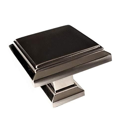 Art-Deco quadratische Knäufe für Küchenschränke, gebürstetes Satin-Nickel, für Schrank, Schublade, 32 mm, quadratisch