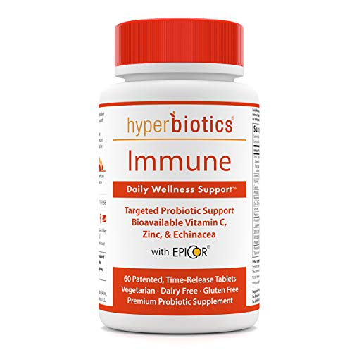Immune: Hyperbiotics Daily Immune & Wellness Support—Probiotics With Bioavailable Vitamin C, Zinc, Echinacea, & EpiCor (Saccharomyces Cerevisiae)—Time Release Delivery—30 Day Supply