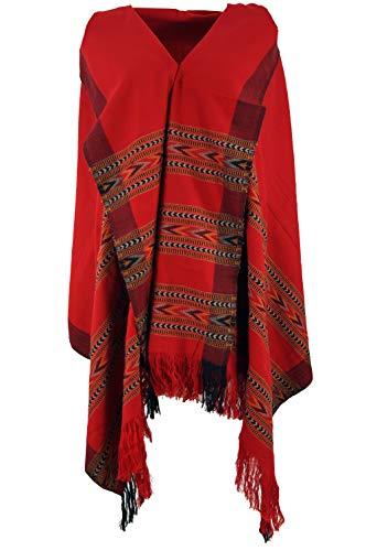 Guru-Shop Indischer Schal/Stola, Ethno Tuch/Decke, Herren/Damen, Rot, Synthetisch, Size:One Size, 200x100 cm, Schals Alternative Bekleidung