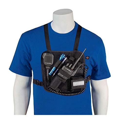 HOLSTERGUY RCH-201M (Mesh) Radio Chest Harness Shoulder Radio Holster Adjustable Chest Pack for Motorola ICOM Vertex Two-Way radios and walkie talkies Handmade in USA