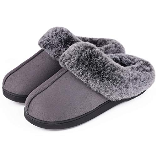 VeraCosy Women's Classic Suede Memory Foam Slippers Anti-Skid Scuff with...