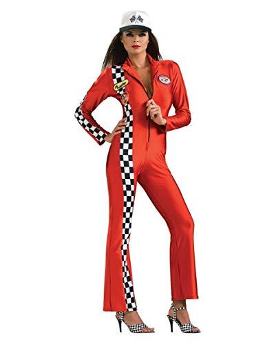 Horror-Shop Sexy Boxenluder Rennfahrerin Kostüm Jumpsuit rot M