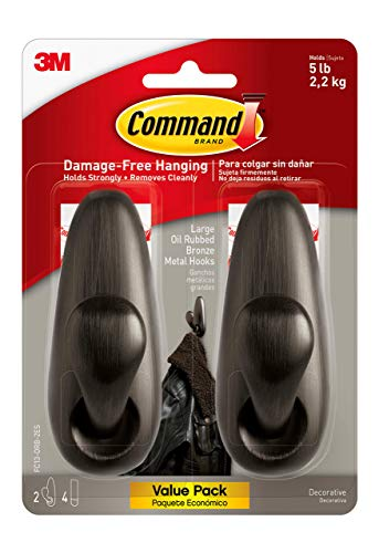 Command Forever Classic Metal Hook, Large, Oil Rubbed Bronze, 2-Hooks (FC13-ORB-2ES), Great for dorm decor