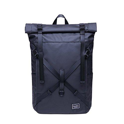 KAUKKO Rucksack Roll Top Backpack Lässiger Vintage Tagesrucksack Herren Laptop...