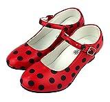 Zapato Flamenco, Calzado de Danza Baile Sevillanas para Niña Mujer, Rojo Lunares Negros (26, Rojo)