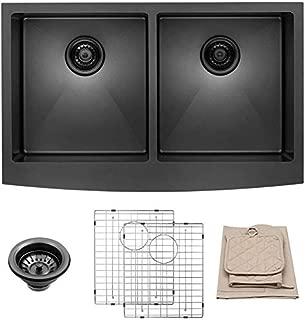 LORDEAR LAB3321R2-55 33 inch Black Farmhouse Apron 50/50 Deep Double Bowl 16 gauge Stainless Steel Kitchen Sink