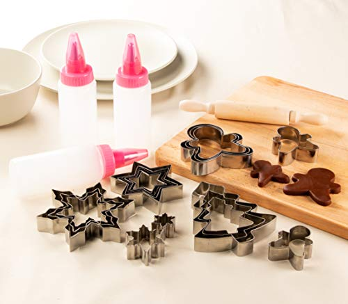 Christmas Cookie and Biscuit Cutter and Decorating Kit, Holiday Designs (21 Pieces)