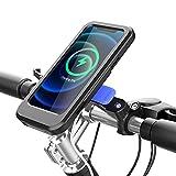 BHJ IPX4 Impermeable Soporte para teléfonos para Bicicletas Soporte móvil con Cargador inalámbrico para Scooter Motor motorizado Montaje Soporte para teléfonos Inteligentes