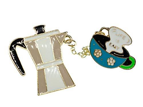 Miniblings Espresso Kanne Pin Brosche - I Kaffee Espressokanne Tasse Mokka Kaffeekanne Kaffeetasse emailliert - - Handmade Modeschmuck I Anstecknadel Button Pins