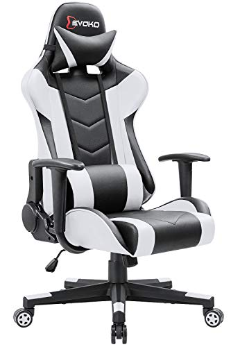 Devoko Ergonomic Gaming Chair Racing Style Adjustable Height High-Back PC Computer Chair with Headrest and Lumbar Support Executive Office Chair (White)