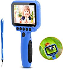 Kids Camera for Boys with Magnifier Function, iMoway Kids Toys,1080P FHD Kids Digital Video Camera Assembled 3.5Inch Large Screen with 16GB SD Card, Gift for Children,(Blue)