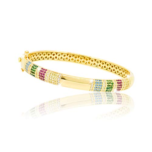 PAVEL´S eleganter Damen Armreif RAINBOW Armband Armspange verschliessbar 18K Gold plattiert umringt von bunten Zirkonia Steinchen verpackt in einer hochwertigen Schmuckbox