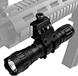 ANEKIM Tactical Weapon Light 1200 High Lumen Hunting Flashlight LED with Picatinny Mount, Rechargeable Batteries, 2 Modes Pressure Switch for Night Hunt Hog, Camping, Hiking, AL12