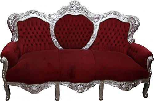 Casa Padrino Barock Sofa Garnitur King Bordeaux/Silber - Möbel Antik Stil