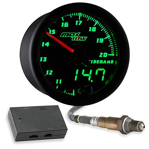 MaxTow Double Vision Wideband Air/Fuel Ratio AFR Gauge Kit - Includes Oxygen Sensor, Data Logging Output & Weld-in Bung - Black Gauge Face - Green LED Dial - Analog & Digital Readouts - 2-1/16' 52mm