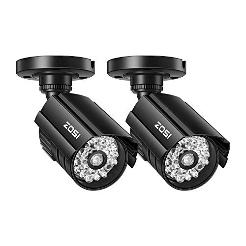 ZOSI 2 Pack Fake Security Camera Bullet with Red Light,Dummy Surveillance Camera Outdoor Indoor Use,Wireless Simulate Cameras for Home Security