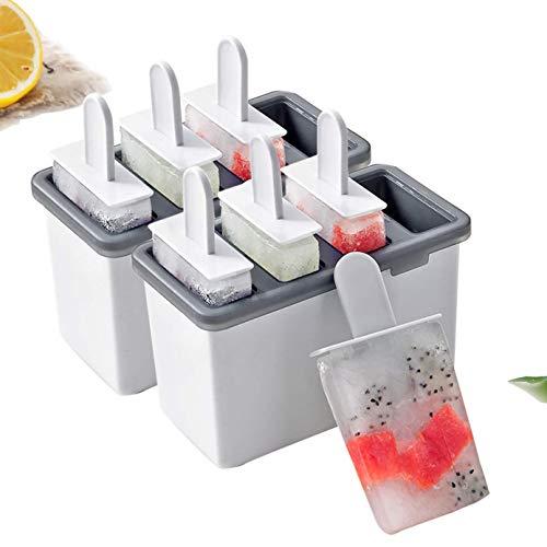ROVE Eisformen BPA FreiDIY EIS am Stiel Formen Sets Wiederverwendbar Wassereisformen Set EIS Pop Form (4 Formen*2) (Weiß)