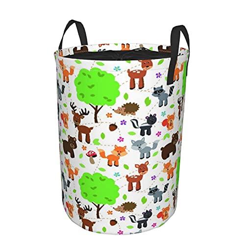 Cesta de almacenamiento, patrón de fondo de animales del bosque enlosable, cesto de lavandería grande plegable con asas 19'x14'